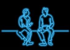 En linje teckning av två sittande män som talar med neonvektoreff royaltyfri illustrationer