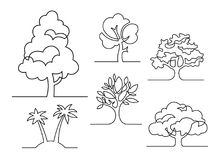 En linje träduppsättning stock illustrationer