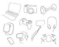 En linje uppsättning av moderna elektroniska grejer för jobbet, underhållning Hand tecknad vektorillustration stock illustrationer