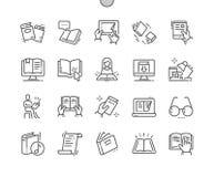 En lisant le vecteur parfait Bien-ouvré de pixel rayez légèrement la grille 2x des icônes 30 pour des graphiques et Apps de Web Images stock