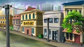 En liten bank på stadsgatan Royaltyfria Bilder