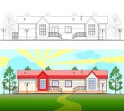 En liten byggnad vektor illustrationer