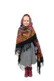 En liten flicka i traditionell rysk sjalett Arkivbild