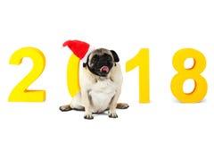 En liten hund i den santa hatten sitter på en gul inskrift 2018 white för bakgrundsbitisolering Royaltyfria Bilder