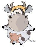 En liten ko cartoon Arkivbild