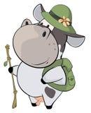 En liten ko cartoon stock illustrationer