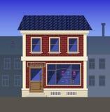 En liten livsmedelsbutik i det gamla huset stock illustrationer