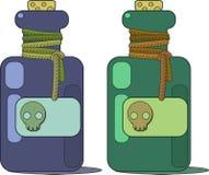 En liten medicinflaska av gift Skalleetikett och kork stock illustrationer
