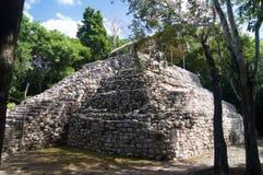 En liten pyramid i djungeln i Mexico Royaltyfri Bild