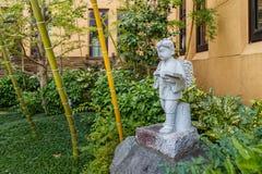 En liten trädgård för japansk stil på internationella Manga Museum i Kyoto Fotografering för Bildbyråer