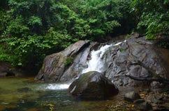 En liten vattenfall faller från en stenklippa in i en sjö som omges av gröna träd och buskar royaltyfria bilder