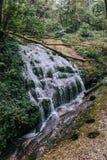 En liten vattenfall, som kom från berget, strömmar Allt strömflöde in i den knackafloden och Chao Praya River arkivbilder