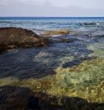 en littoral et été d'étang de Lanzarote Espagne Photographie stock