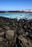 en littoral et été d'étang de Lanzarote Espagne Photo stock