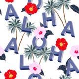 En ljus härlig sömlös blandning för typo 3D ALOHA med sommarmotiv royaltyfri illustrationer