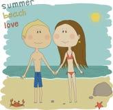 En ljus illustration av ett par på stranden. Royaltyfri Bild