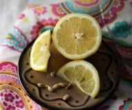 En ljus ny färgrik citron, rynkar upp royaltyfri bild