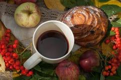 En ljus sammansättning för A med en kopp av starkt svart te, en söt bulle med russin, askabär, äpplen och färgrika höstsidor på Arkivfoton