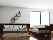 En lokalinterior med sofas stock illustrationer