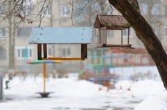 En los alimentadores de la estación del invierno para los pájaros Imagen de archivo libre de regalías