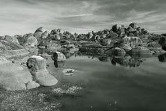 En Los Barruecos blanco y-Schwarzen Stockfotografie