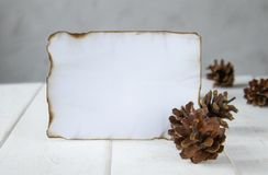 En los tableros de madera blancos, una hoja de papel quemada a lo largo de los bordes, conos del bosque alrededor de los bordes D foto de archivo