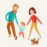 En lycklig familj går tillsammans Mamman, farsan och sonen går framåt med th Arkivfoto