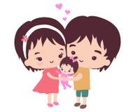 En lycklig familj och deras lilla dotter Royaltyfria Foton