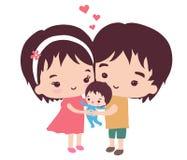 En lycklig familj och deras lilla son Royaltyfria Foton