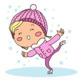 En lycklig flicka åker skridskor Royaltyfri Bild