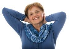 En lycklig hög kvinna - över gammala sextio år Arkivfoton