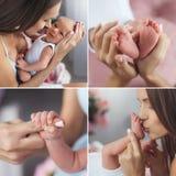 En lycklig mamma med en nyfödd son, collage arkivfoto
