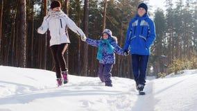 En lycklig moder med två barn promenerar dettäckte skogSteadicam skottet arkivfilmer