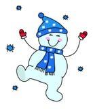 En lycklig snögubbe har gyckel timmar liggandesäsongvinter vektor illustrationer