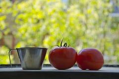 En mäta kopp och två tomater Arkivfoton
