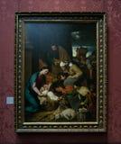 En målning av en okänd konstnär i National Gallery i London royaltyfria bilder
