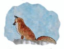 En målning av en räv i snön som målas med vattenfärgen Arkivfoto