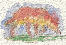 En målning av en varg i vattenfärg och färgpulver, målad hand Arkivfoto