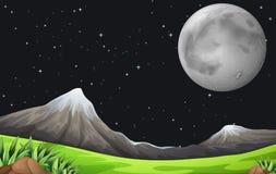 En mörk himmel med mousserande stjärnor och en ljus måne vektor illustrationer