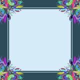 En mörkblå ram för blom- prydnad Royaltyfri Foto