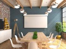 En mötesrum med en tom vit skärm för projektorn på väggen Inre av konferenskorridoren i vindstil kraft 3D Royaltyfria Bilder