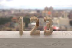 123 en madera Fotografía de archivo