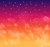 En magisk Nigh himmel med stjärnor och delecate fördunklar Royaltyfri Fotografi
