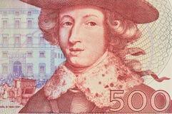 Makro av den svenska kr av nominellt värde 500 Arkivbild