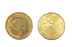 En Malaysia femtio cent mynt Royaltyfri Fotografi
