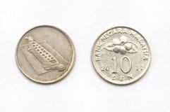 En Malaysia tio cent mynt Royaltyfri Fotografi
