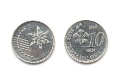 En Malaysia tio cent mynt Royaltyfri Foto