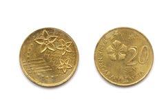 En Malaysia tjugo cent mynt Arkivfoton