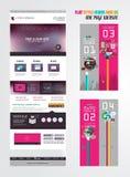 En mall för design för sidawebsitelägenhet UI Royaltyfria Bilder