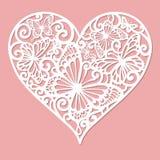 En mall för laser-klipp Openwork hjärta royaltyfri illustrationer